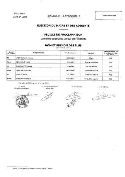 thumbnail of Election du maire et des adjoints – Feuille de proclamation
